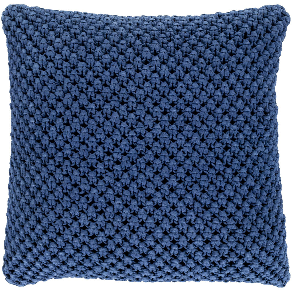 Godavari GDA-004 Crochet Pillow in Dark Blue by Surya