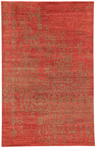Scroll Damask Rug in Rust & Burnt Olive design by Jaipur