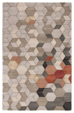 Combs Handmade Geometric Light Gray & Orange Area Rug