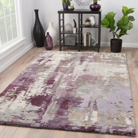 Matcha Abstract Rug in Pumice Stone & Brindle design by Jaipur
