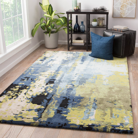 Matcha Abstract Rug in Sky Gray & Green Banana design by Jaipur Living