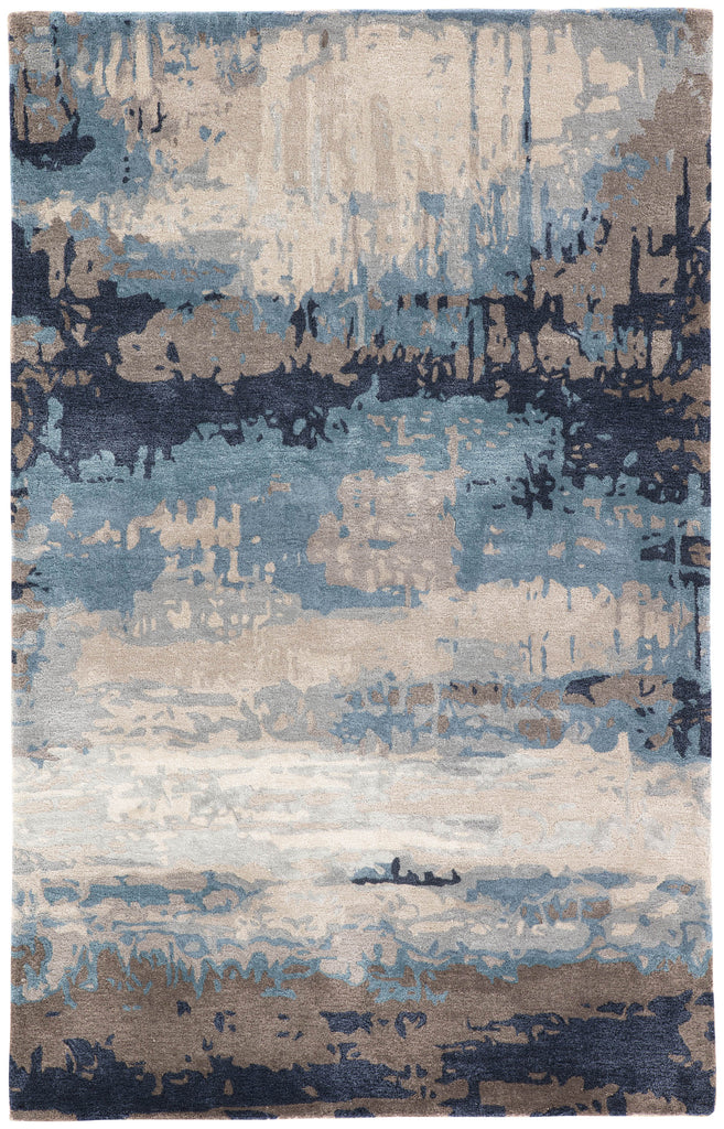 Benna Abstract Rug in Desert Taupe & Orion Blue design by Jaipur