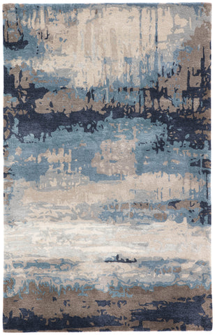 Benna Handmade Abstract Blue & Gray Area Rug