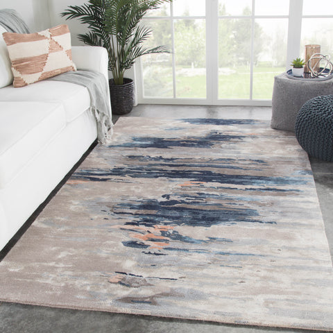 Ryenn Handmade Abstract Blue & Pink Area Rug
