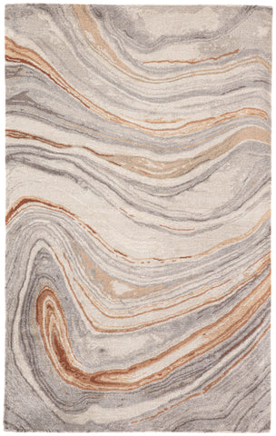 Atha Handmade Abstract Copper & Gray Area Rug