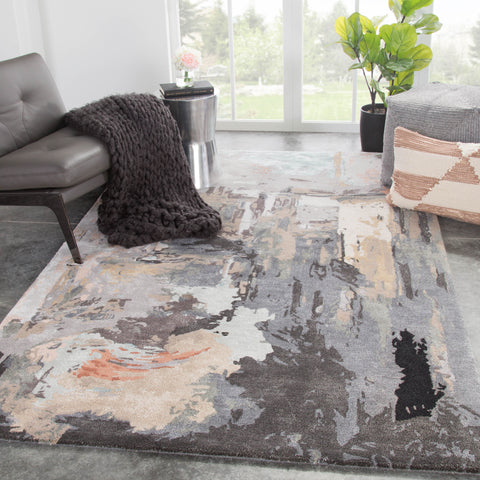 Luella Abstract Rug in Nougat & Forged Iron design by Jaipur