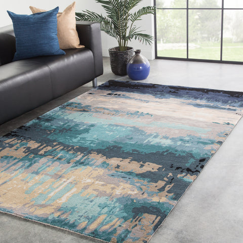 Benna Abstract Rug in Mood Indigo & Green Milieu design by Jaipur