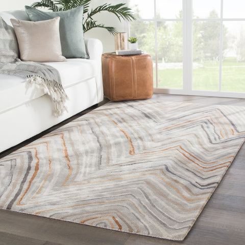 Sadie Chevron Rug in Feather Gray & Tannin design by Jaipur