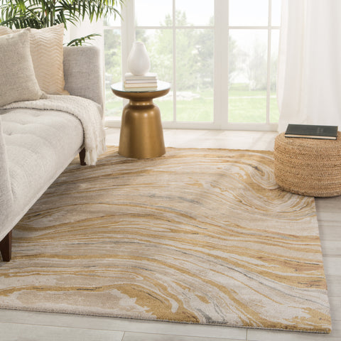 Atha Handmade Abstract Gold/ Beige Rug by Jaipur Living