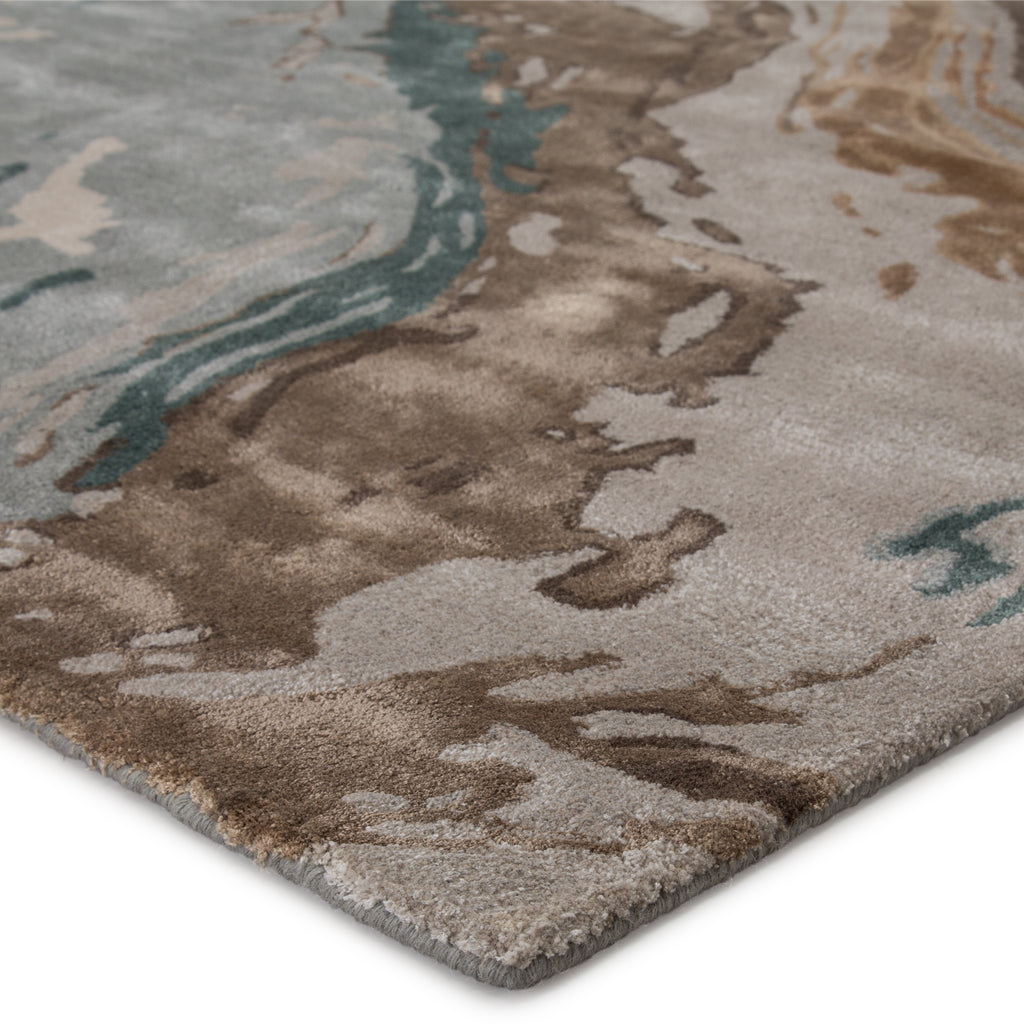 Conley Handmade Abstract Teal/ Light Gray Rug by Jaipur Living