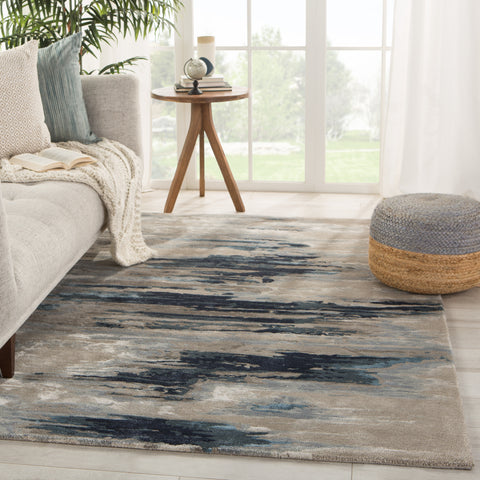 Ryenn Handmade Abstract Dark Blue/ Gray Rug by Jaipur Living