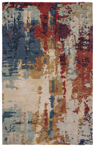 Matcha Handmade Abstract Multicolor/ Red Rug by Jaipur Living