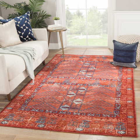 Montreal Tribal Rug in Red Ochre & Blue Wing Teal design by Jaipur