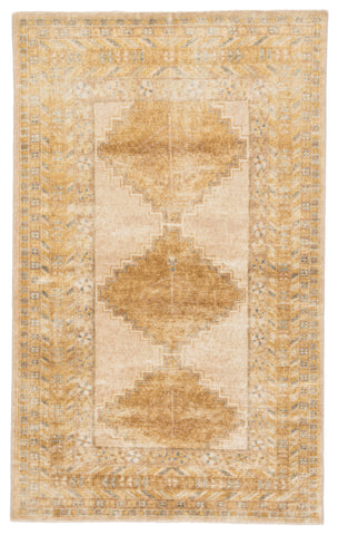Enfield Medallion Rug in Honey Mustard & Wood Thrush design by Jaipur