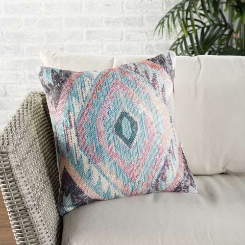 Sinai Indoor/ Outdoor Tribal Blue & Multicolor Pillow