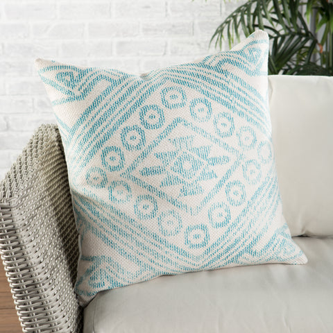 Malae Indoor/ Outdoor Tribal Turquoise & Cream Pillow