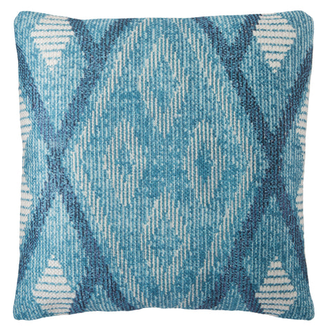 Sadler Indoor/ Outdoor Tribal Blue & White Pillow
