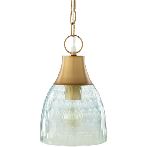 Glasshouse GSH-001 Pendant in Aqua & Brass by Surya