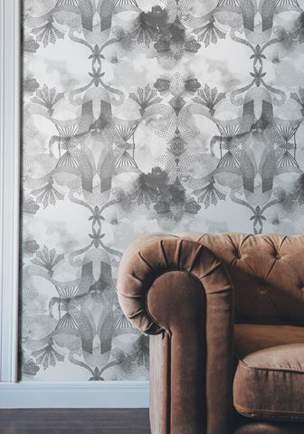 Gadara Wallpaper in Charcoal from the Ella & Sofia Collection by Milton & King