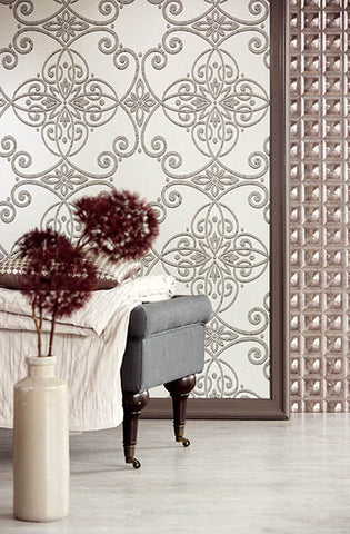 Galina Grey Scroll Damask Wallpaper from the Venue Collection by Brewster Home Fashions