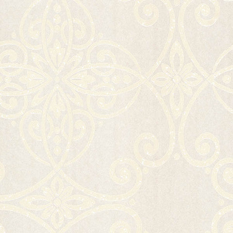 Galina Taupe Scroll Damask Wallpaper from the Venue Collection by Brewster Home Fashions
