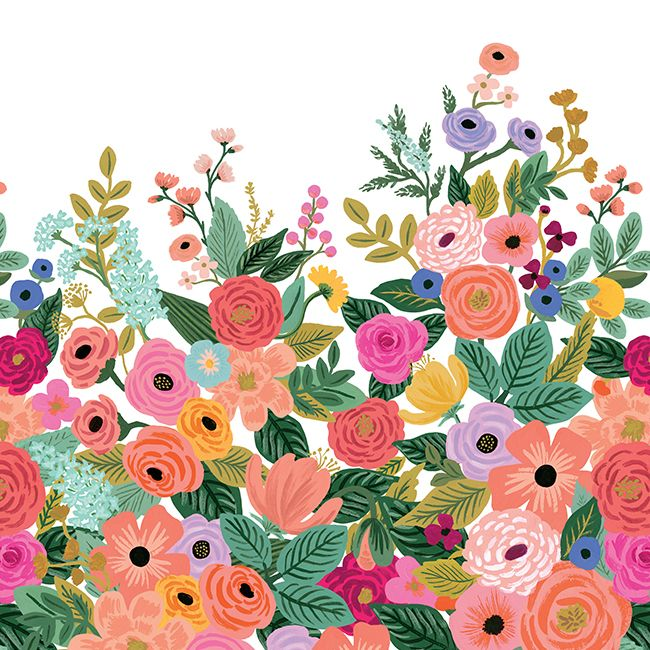 Garden Party Wall Mural in Cream and Bright Pink from the Rifle Paper Co. Collection by York Wallcoverings