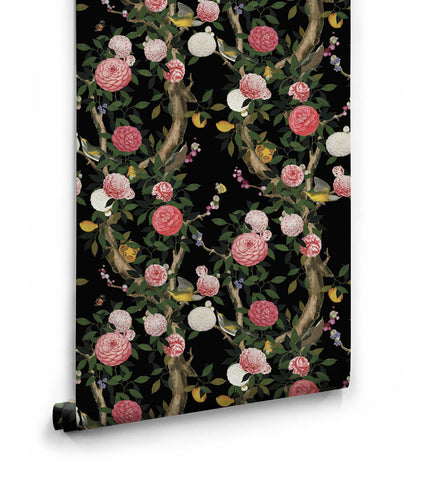 Garden Bloom Wallpaper in Black from the Kingdom Home Collection by Milton & King