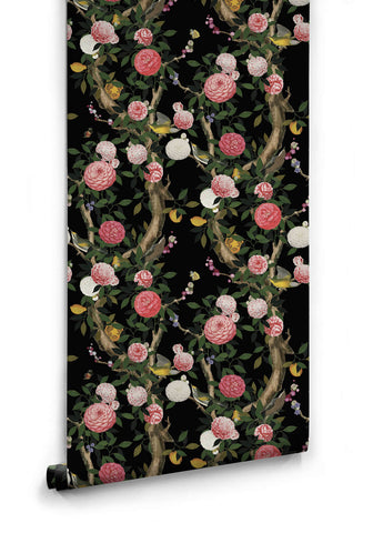 Sample Garden Bloom Wallpaper in Black from the Kingdom Home Collection by Milton & King
