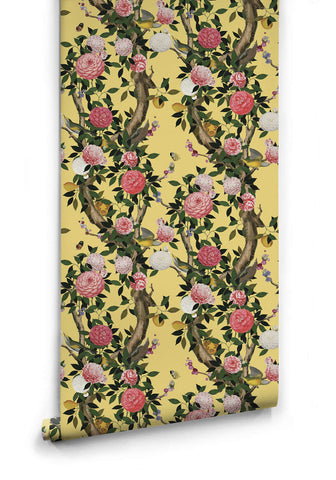 Garden Bloom Wallpaper in Golden Pear from the Kingdom Home Collection by Milton & King