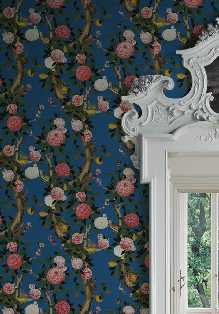 Garden Bloom Wallpaper in Iznik from the Kingdom Home Collection by Milton & King