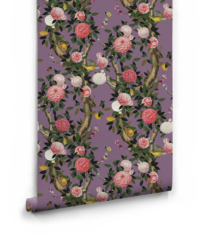 Garden Bloom Wallpaper in Lilac from the Kingdom Home Collection by Milton & King