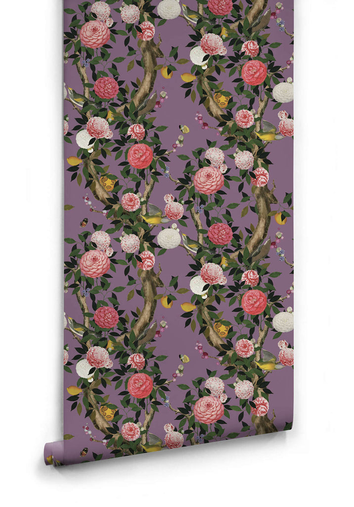 Sample Garden Bloom Wallpaper in Lilac from the Kingdom Home Collection by Milton & King