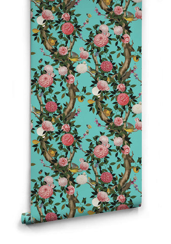 Sample Garden Bloom Wallpaper in Teal from the Kingdom Home Collection by Milton & King