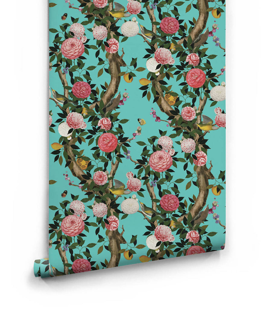 Garden Bloom Wallpaper in Teal from the Kingdom Home Collection by Milton & King