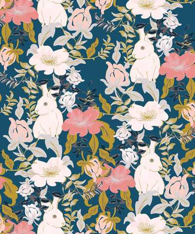 Garden Bunny Wallpaper in Deep Teal from the Wallpaper Republic Collection by Milton & King