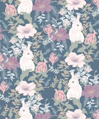 Garden Bunny Wallpaper in Pastels from the Wallpaper Republic Collection by Milton & King