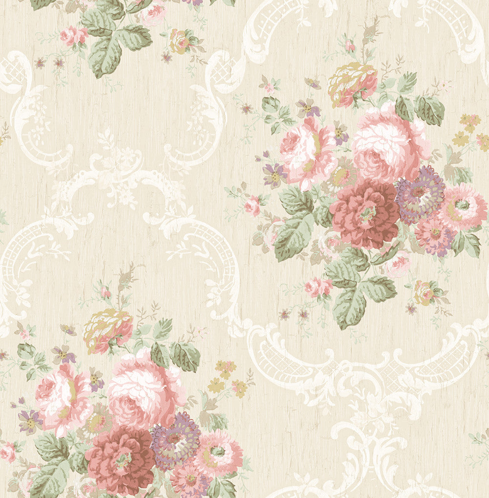 Garden Cameo Wallpaper in Blush from the Spring Garden Collection by Wallquest
