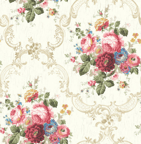 Garden Cameo Wallpaper in Classic Rose from the Spring Garden Collection by Wallquest