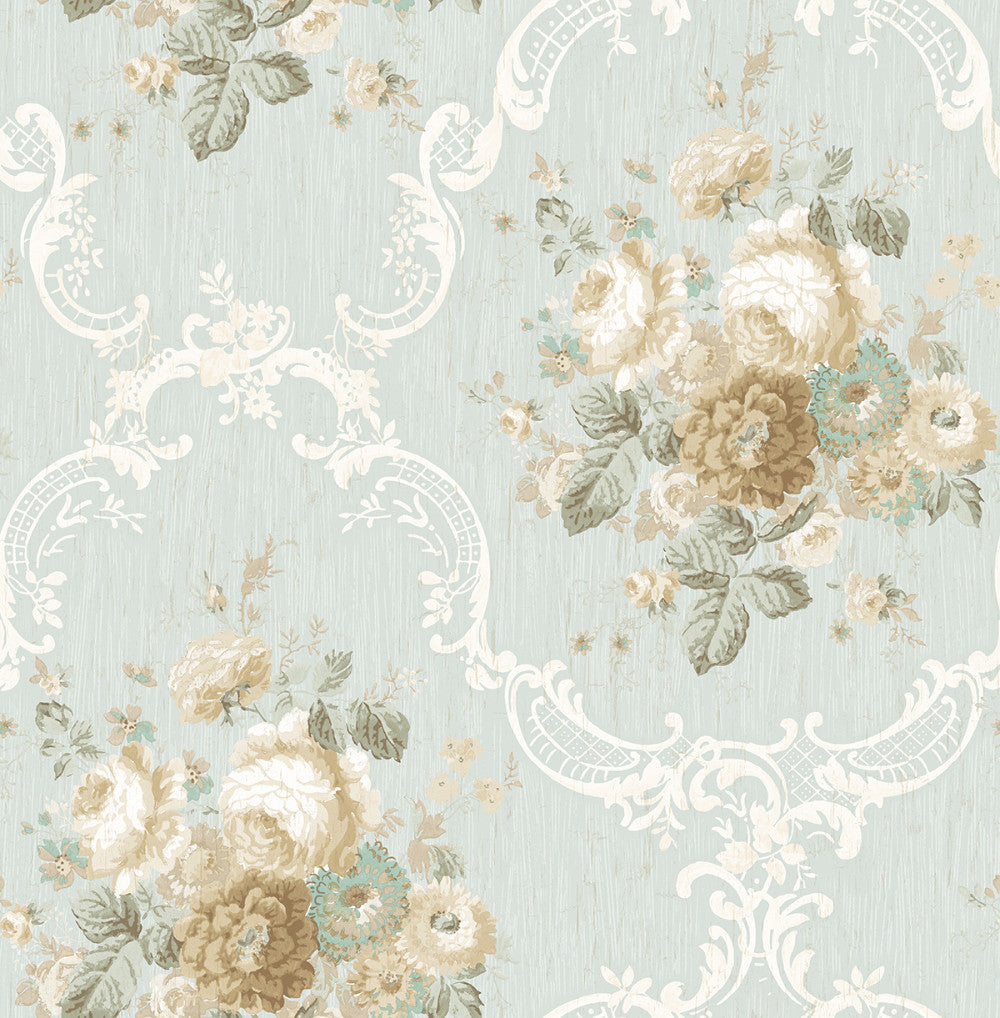 Sample Garden Cameo Wallpaper in Dusty Blue from the Spring Garden Collection by Wallquest