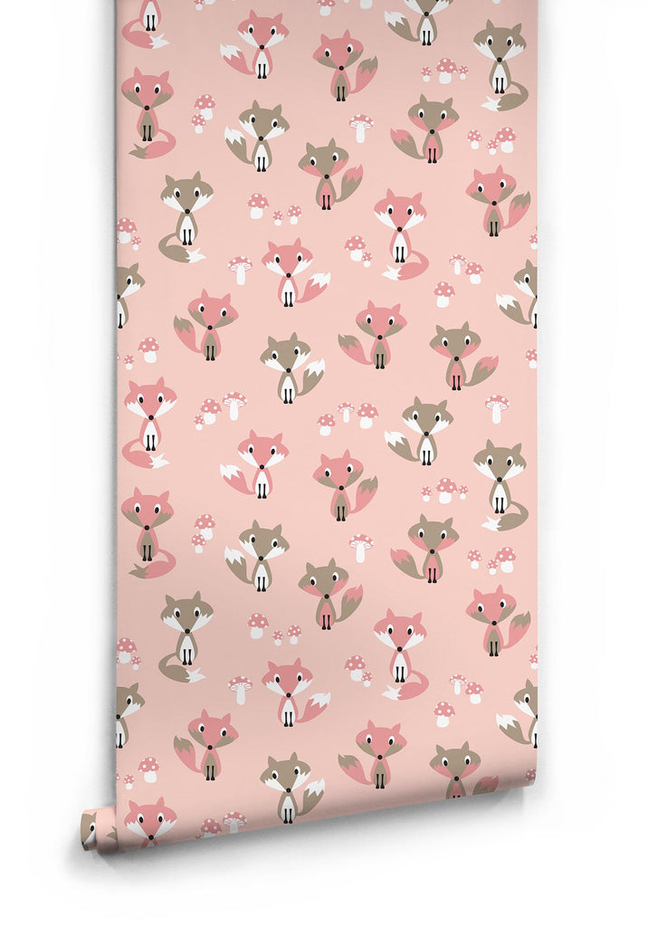 Sample Garden Foxes Wallpaper in Pink by Muffin & Mani for Milton & King