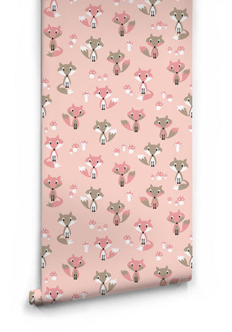 Garden Foxes Wallpaper in Pink by Muffin & Mani for Milton & King