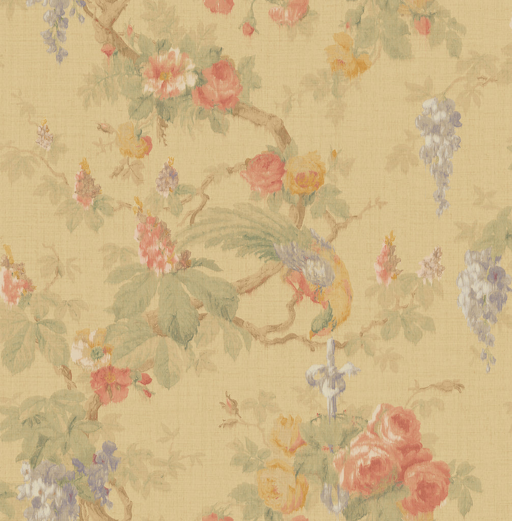 Garden Linen Wallpaper in Neutrals and Multi from the Watercolor Florals Collection by Mayflower Wallpaper