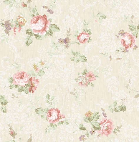Garden Trail Wallpaper in Blush from the Spring Garden Collection by Wallquest