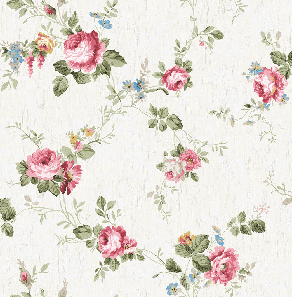 Garden Trail Wallpaper in Classic Rose from the Spring Garden Collection by Wallquest