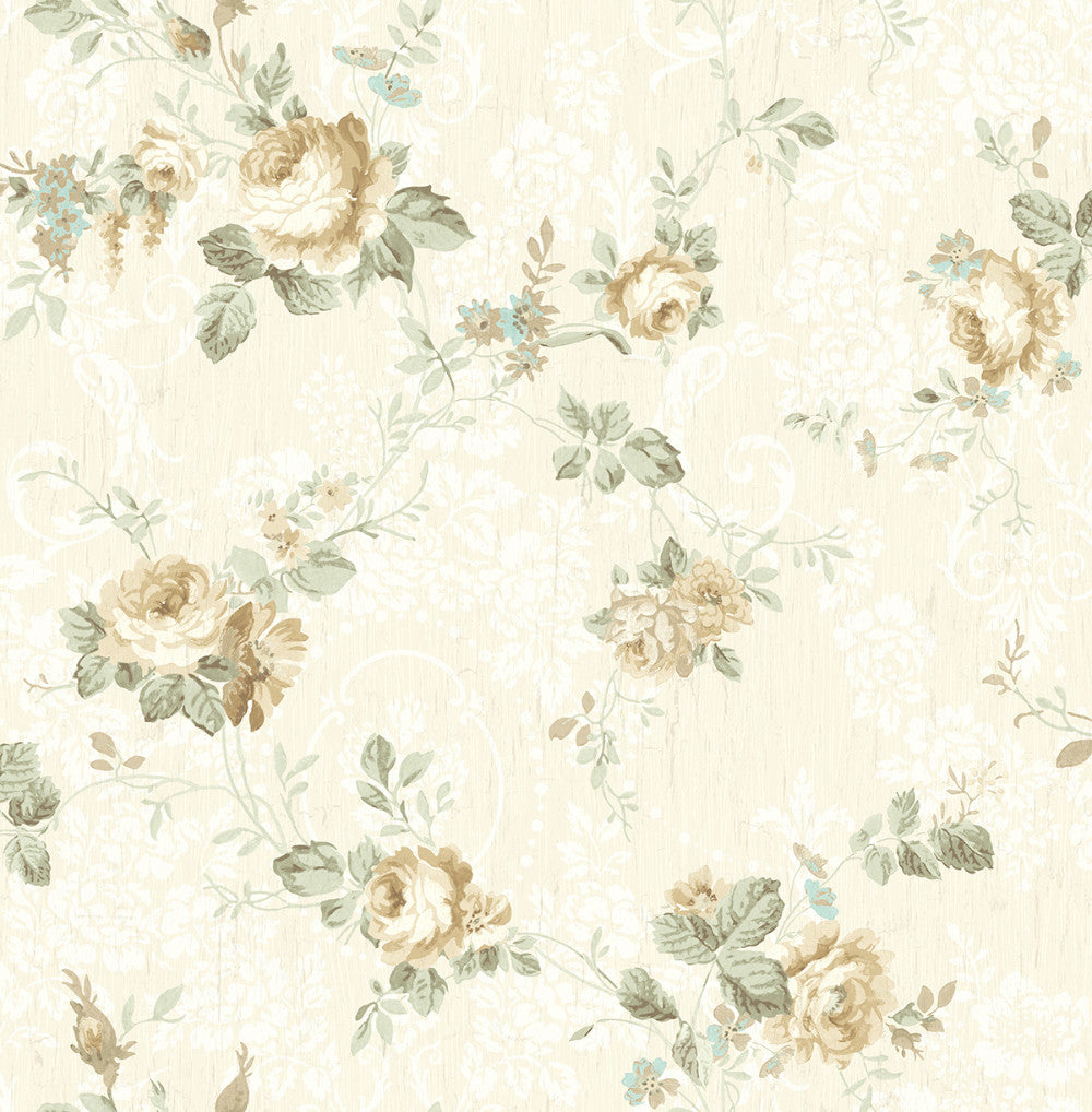 Garden Trail Wallpaper in Soft Neutral from the Spring Garden Collection by Wallquest
