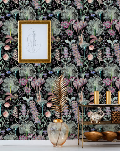 Garden of Eden Wallpaper in Black and Mauve from the Florilegium Collection by Mind the Gap