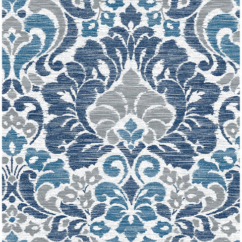 Garden of Eden Damask Wallpaper in Blue from the Celadon Collection by Brewster Home Fashions