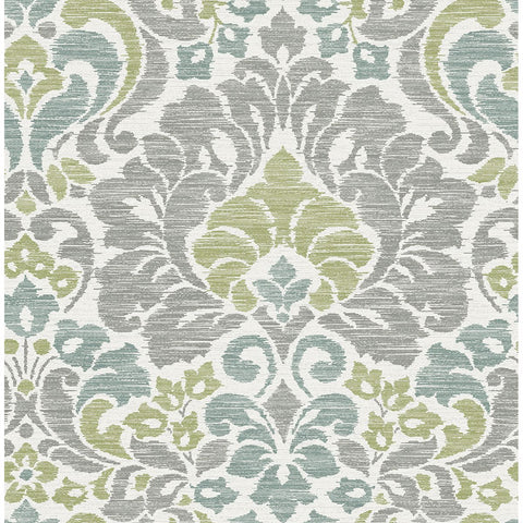 Garden of Eden Damask Wallpaper in Green from the Celadon Collection by Brewster Home Fashions