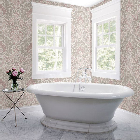 Garden of Eden Damask Wallpaper in Pink from the Celadon Collection by Brewster Home Fashions