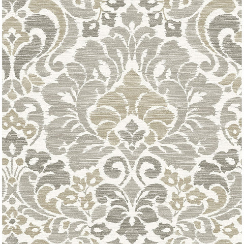Garden of Eden Damask Wallpaper in Taupe from the Celadon Collection by Brewster Home Fashions